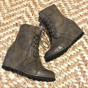 Merona Brown Wedge Lace Up Boots Size 10